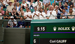 LONDON, ENGLAND - Wednesday, July 3, 2019: The parents and coaches of Cori Gauff (USA) during the Ladies' Singles second round match on Day Three of The Championships Wimbledon 2019 at the All England Lawn Tennis and Croquet Club. (Pic by Kirsten Holst/Propaganda)