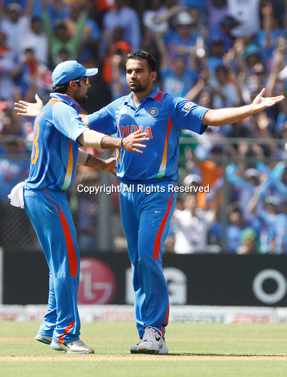 02.04.2011 Cricket World Cup Final from the Wankhede Stadium in Mumbai. Sri Lanka v India.Zaheer Khan of India celebrates the wicket of Upul Tharanga during the final match of the ICC Cricket World Cup between India and Sri Lanka on the 2nd April 2011