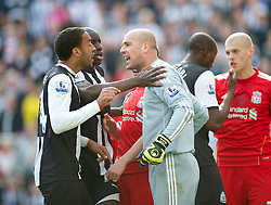 NEWCASTLE-UPON-TYNE, ENGLAND - Sunday, April 1, 2012: Liverpool's goalkeeper Jose Reina argues with Newcastle United's James Perch after being sent off during the Premiership match at St James' Park. (Pic by David Rawcliffe/Propaganda)