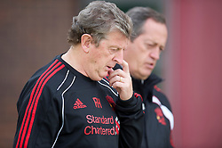 LIVERPOOL, ENGLAND - Wednesday, August 18, 2010: Liverpool's manager Roy Hodgson and head of Sports Medicine and Science Dr Peter Brukner during a training session at Melwood ahead of the UEFA Europa League Play-Off 1st Leg match against Trabzonspor A.S. (Pic by: David Rawcliffe/Propaganda)