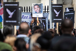 © Licensed to London News Pictures. 17/04/2019. London, UK. Bereaved relatives and campaigners hold a protest outside Downing Street to demand action on knife crime in the capital. Photo credit: Rob Pinney/LNP