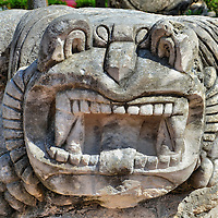Jaguar God Statue in Tulum Pueblo, Mexico<br /> There were many jaguar deities in the Mayan religion. Based on its appearance, this sculpture at Tulum Park probably represents the Jaguar God of the Underworld.  According to mythology, this animal personified the Night Sun as it traveled through darkness.