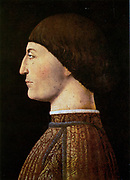Sigismondo Malatesta (1417 – 1468), known as the Wolf of Rimini, Italian condottiero and nobleman, a member of the House of Malatesta. A daring military leader in Italy and commanded the Venetian forces in the 1465 campaign against the Ottoman Empire. Portrait by Piero della Francesca. (c. 1415 – 1492)