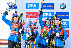 March 16, 2019 - –Stersund, Sweden - 190316 Hanna Öberg, Linn Persson, Mona Brorsson and Anna Magnusson of Sweden celebrate after  the Women's 4x6 km Relay during the IBU World Championships Biathlon on March 16, 2019 in Östersund..Photo: Petter Arvidson / BILDBYRÃ…N / kod PA / 92268 (Credit Image: © Petter Arvidson/Bildbyran via ZUMA Press)