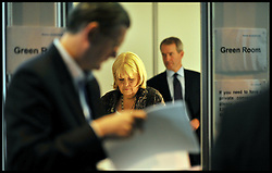 Secretary of State for Wales Cheryl Gillan with Northern Ireland Secretary Owen Paterson wait backstage in the Green Room at the Conservative Party Conference in Manchester, Sunday October 2,  2011 Photo By Andrew Parsons/ i-Images