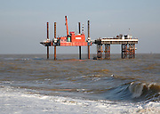 Water intake and outflow platforms in the North Sea, Sizewell nucelar power station, Suffolk, England