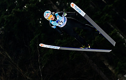 Julia Kykkaenen of Finland soaring through the air during Trial Round at Day 1 of World Cup Ski Jumping Ladies Ljubno 2019, on February 8, 2019 in Ljubno ob Savinji, Slovenia. Photo by Matic Ritonja / Sportida