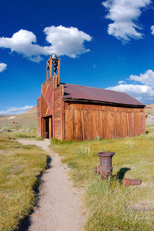 The Bodie Firehouse and fire hydrant, Bodie State Historic Park (National Historic Landmark), California