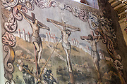 Mexican folk Baroque murals painted on the ceiling and walls at the Sanctuary of Atotonilco an important Catholic shrine in Atotonilco, Mexico. The paintings were done by Antonio Martinez de Pocasangre and Jose Maria Barajas over a period of thirty years and is known as the Sistine Chapel of Mexico.