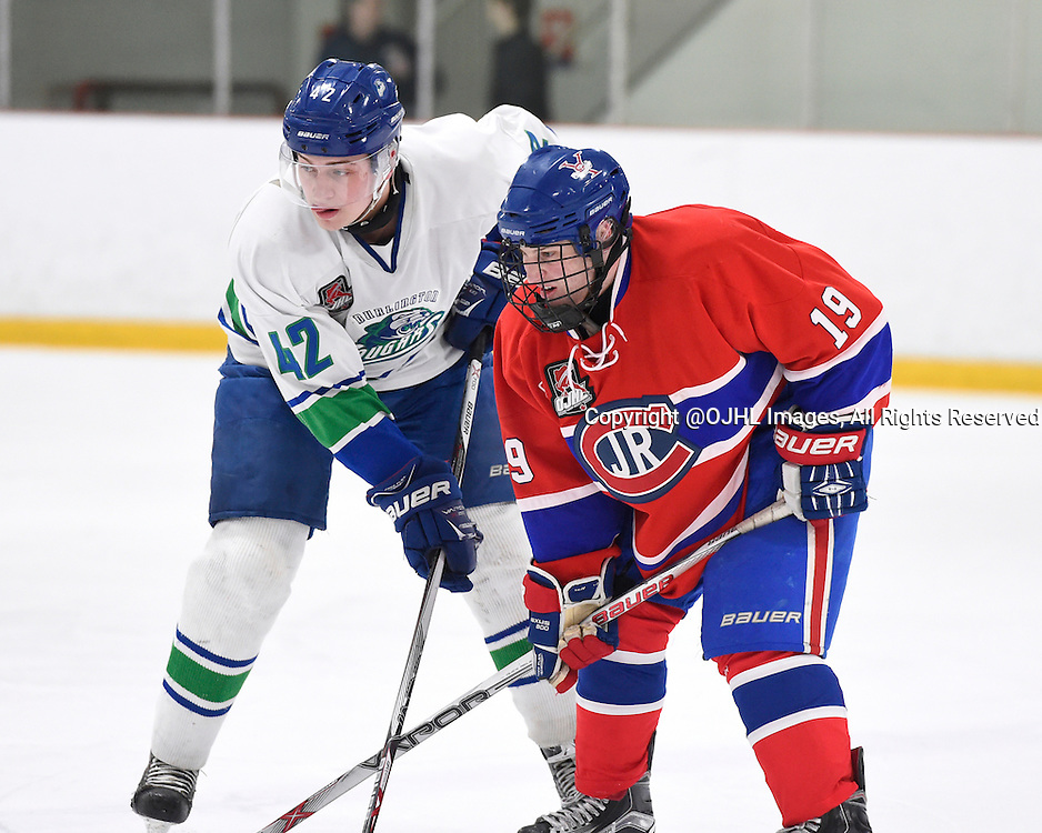 BURLINGTON, - Mar 2, 2016 -  Ontario Junior Hockey League game action between Burlington Cougars and the Toronto Junior Canadians. Game 1 of the first round playoff series at the Appleby Ice Centre, ON. Matt Holmes #42 of the Burlington Cougars battles for control with Adam Deluca #19 of the Toronto Jr. Canadiens during the third period.<br /> (Photo by Andy Corneau / OJHL Images)