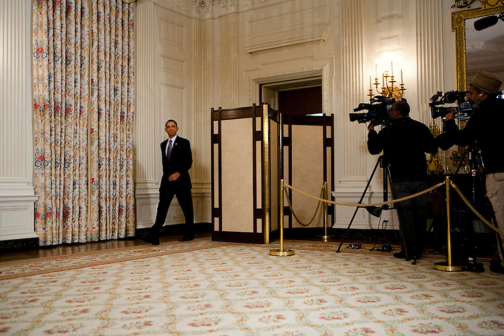 President Barack Obama prepares to make a statement on the situation in Egypt at the White House in Washington, D.C., U.S., on Friday, January 28, 2011.
