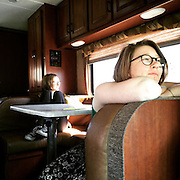 Tucker and Aubrey riding in the RV, photo by Lydia Hess