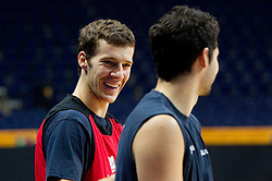 Goran Dragic of Slovenia and Saso Ozbolt of Slovenia during practice session of Slovenian National basketball team at Eurobasket Lithuania 2011, on September 8, 2011, in Siemens Arena, Vilnius, Lithuania. (Photo by Vid Ponikvar / Sportida)