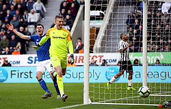 Everton goalkeeper Jordan Pickford reacts to the fans after a miss by Newcastle United's Salomon Rondon (background right) during the Premier League match at St James' Park, Newcastle.