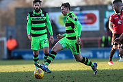 Forest Green Rovers Dayle Grubb(8) on the ball during the EFL Sky Bet League 2 match between Morecambe and Forest Green Rovers at the Globe Arena, Morecambe, England on 17 February 2018. Picture by Shane Healey.