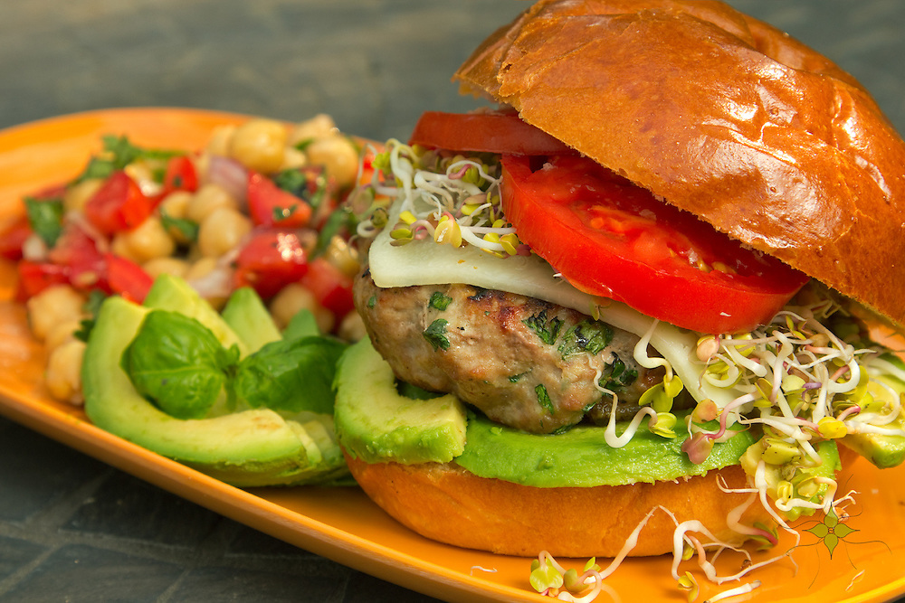 Turkey Burger with Avocado and Chickpea Salad by Marisa Rosemellia