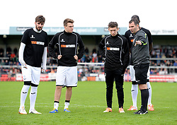 Referee Tim Robinson Talks with Weston Super mare players as he inspects the pitch. - Photo mandatory by-line: Alex James/JMP - Mobile: 07966 386802 - 08/11/2014 - SPORT - Football - Weston-super-Mare - Woodspring Stadium - Weston-super-Mare v Doncaster - FA Cup - Round One