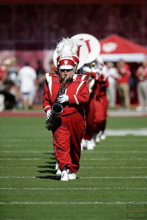 27 September 2014: The Indiana band before the Indiana Hoosiers played Maryland in a college football game in Bloomington, IN.