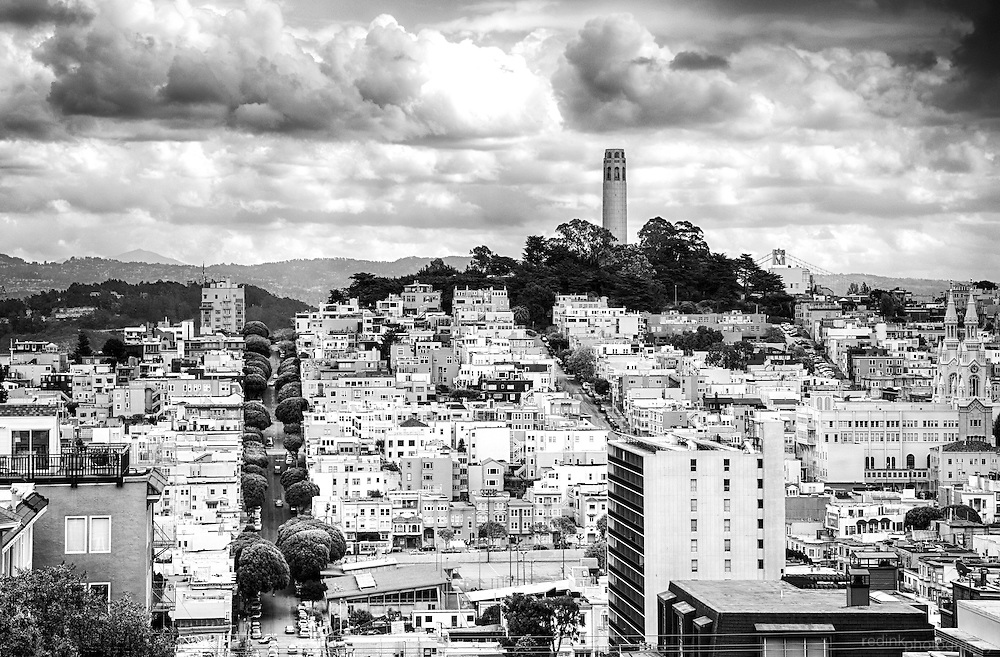 Coit Tower and the surround neighborhood as seen from the bottom of Lombard Street in San Francisco.