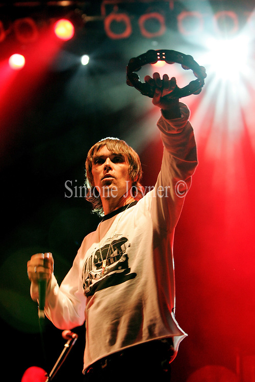 Ian Brown performs live on the JJB stage during Day one of V Festival 2008 at Hylands Park on August 16, 2008 in Chelmsford, England.  (Photo by Simone Joyner)