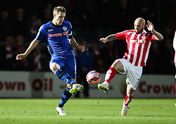 Rochdale's Oliver Lancashire and Stoke City's Stephen Ireland - Photo mandatory by-line: Matt McNulty/JMP - Mobile: 07966 386802 - 26/01/2015 - SPORT - Football - Rochdale - Spotland Stadium - Rochdale v Stoke City - FA Cup Fourth Round