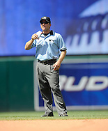 Minor League Call-Up Umpire Chris Guccione eats sunflowers seeds between innings..The Cleveland Indians defeated the Detroit Tigers 9-4 on Thursday, July 31, 2008 at Progressive Field in Cleveland.