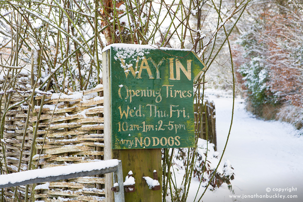 Entrance to the garden at Glebe Cottage on a snowy winter's day