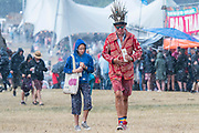 Henham Park, Suffolk, 20 July 2019. The rain falls and people dash for cover - The 2019 Latitude Festival.