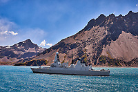 HMS Dragon (D35) at Anchor as we Departed Grytviken, South Georgia. Image taken with a Fuji X-T1 camera and 23 mm f/1.4 lens (ISO 200, 23 mm, f/16, 1/125 sec).