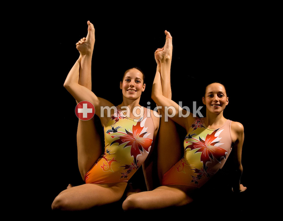 (L-R) Ariane SCHNEIDER and Magdalena BRUNNER of the Swiss synchronized swimming duet pose during a portrait photo session during the 2008 European Aquatics Championships in Eindhoven, Netherlands, Saturday, March 15, 2008. (Photo by Patrick B. Kraemer / MAGICPBK).