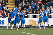 Hartlepool United striker Billy Paynter celebrates after scores a goal from the penalty spot during the Sky Bet League 2 match between Hartlepool United and Dagenham and Redbridge at Victoria Park, Hartlepool, England on 12 March 2016. Photo by George Ledger.