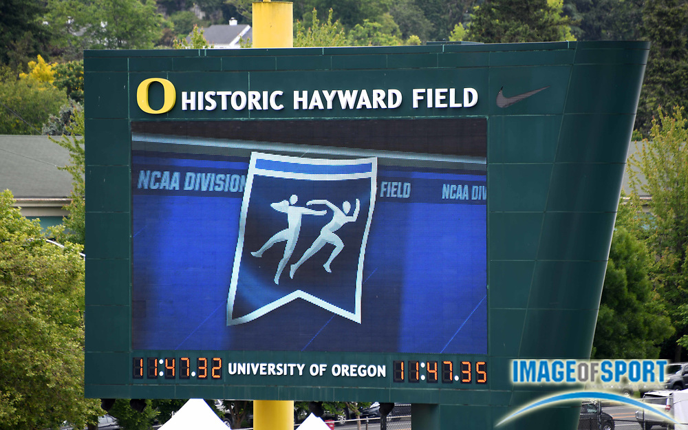 Jun 8, 2018; Eugene, OR, USA;The scoreboard  during the NCAA Track and Field championships at Hayward Field.