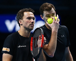 November 17, 2017 - London, England, United Kingdom - Jamie Murray (GBR) and Bruno Soares (BRA) against Lukaez Kubut (POL) and Marcelo Melo (BRA)..during Day six of the Nitto ATP World Tour  Finals played at The O2 Arena, London on November 17 2017  (Credit Image: © Kieran Galvin/NurPhoto via ZUMA Press)
