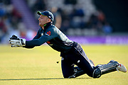 Joss Buttler of England takes a catch of of David Willey's bowling to dismiss Imad Wasim during the second Royal London One Day International match between England and Pakistan at the Ageas Bowl, Southampton, United Kingdom on 11 May 2019.