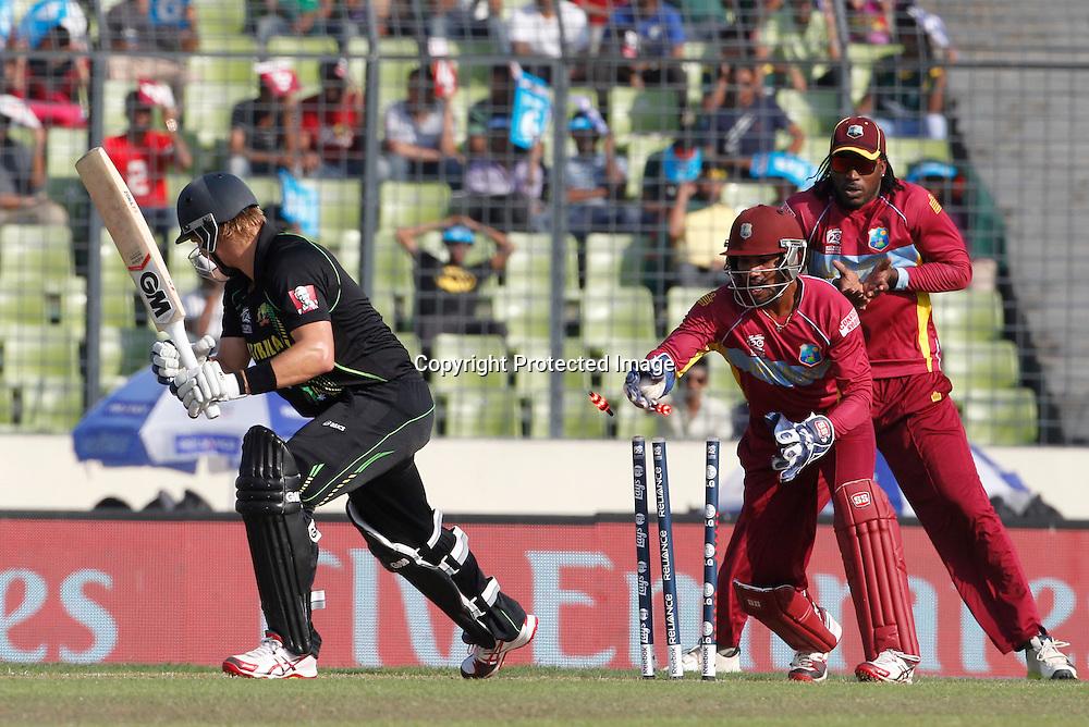 Shane Watson stump - West Indies v Australia, ICC World Twenty20, Bangladesh 2014. 28 March 2014, Sher-e-Bangla National Cricket Stadium, Mirpur. Photo: Shamsul hoque Tanku/www.photosport.co.nz