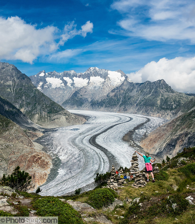 From Fiesch, lift to Fiesheralp, then hike to vast views of Aletsch Glacier via Hohbalm, Moosfluh, Hohfluh, Riderfurke, and Riederalp. Grosser Aletschgletscher is the largest glacier in the Alps (23 km or 14 miles long in 2014). The Swiss Alps Jungfrau-Aletsch region is honored as a UNESCO World Heritage Site.