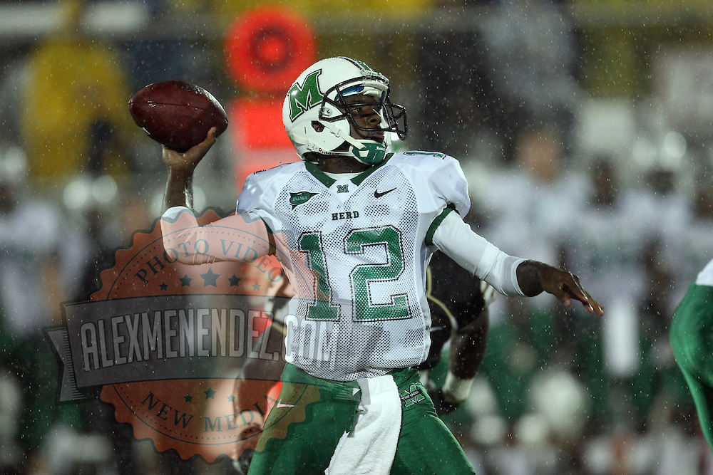 Marshall quarterback Rakeem Cato (12) during an NCAA football game between the Marshall Thundering Herd and the Central Florida Knights at Bright House Networks Stadium on Saturday, October 8, 2011 in Orlando, Florida. (Photo/Alex Menendez)