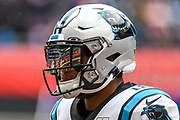 The Tottenham Stadium is reflected in the visor of Carolina Panthers Wide Receiver D. J. Moore (12) during the International Series match between Tampa Bay Buccaneers and Carolina Panthers at Tottenham Hotspur Stadium, London, United Kingdom on 13 October 2019.