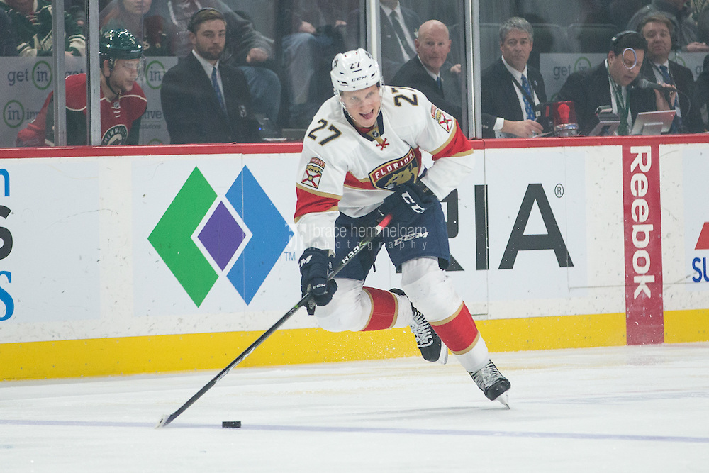 Dec 13, 2016; Saint Paul, MN, USA; Florida Panthers forward Nick Bjugstad (27) against the Minnesota Wild at Xcel Energy Center. The Wild defeated the Panthers 5-1. Mandatory Credit: Brace Hemmelgarn-USA TODAY Sports