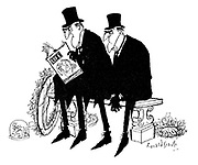 (Two undertakers sitting on a bench. One is reading a copy of Life magazine)