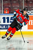 KELOWNA, BC - NOVEMBER 30: Dillon Hamaliuk #22 of the Kelowna Rockets warms up with the puck against Prince George Cougars at Prospera Place on November 30, 2019 in Kelowna, Canada. Hamaliuk was selected in the 2019 NHL entry draft by the San Jose Sharks. (Photo by Marissa Baecker/Shoot the Breeze)