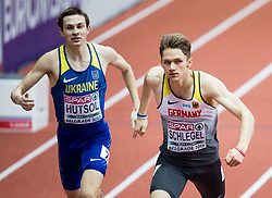 Yevhen Hutsol of Ukraine and Marvin Schlegel of Germany compete in the Men's 400 metres heats on day one of the 2017 European Athletics Indoor Championships at the Kombank Arena on March 3, 2017 in Belgrade, Serbia. Photo by Vid Ponikvar / Sportida