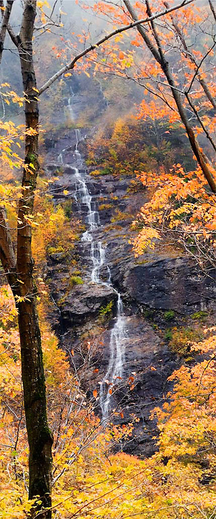 Seasonal waterfall in Smuggler's Notch, Vermont from the Jeffersonville side