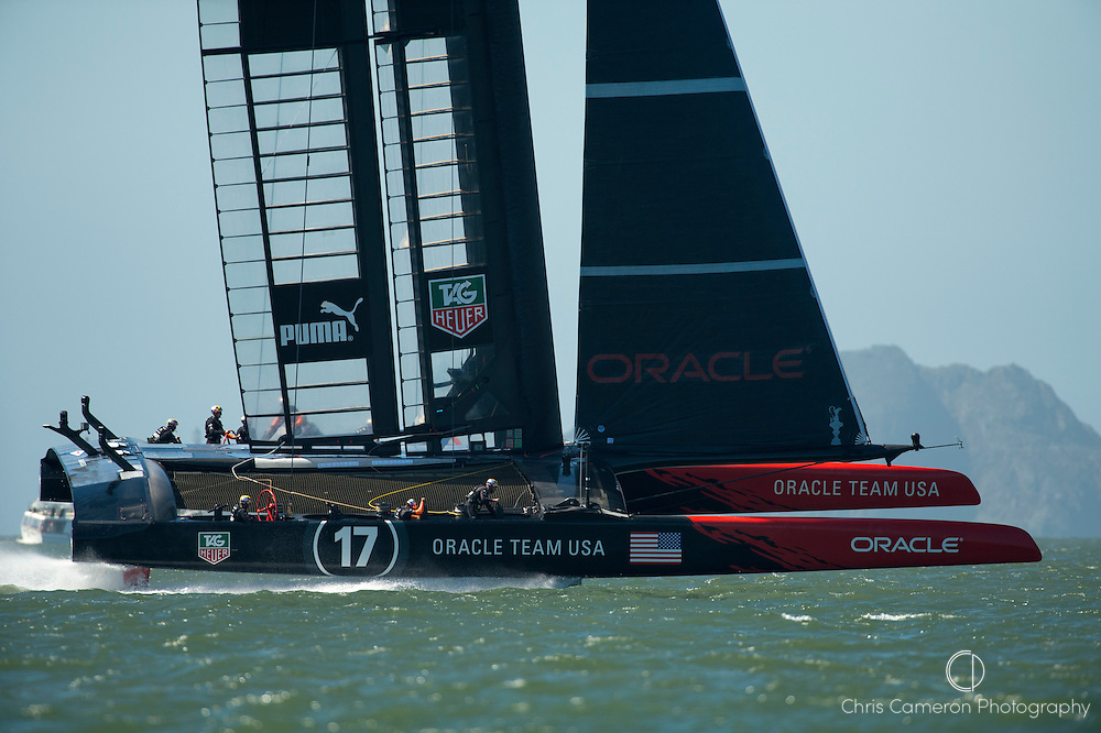 Oracle Team USA practicing before race 12 on day nine of America's Cup 34.. 18/9/2013