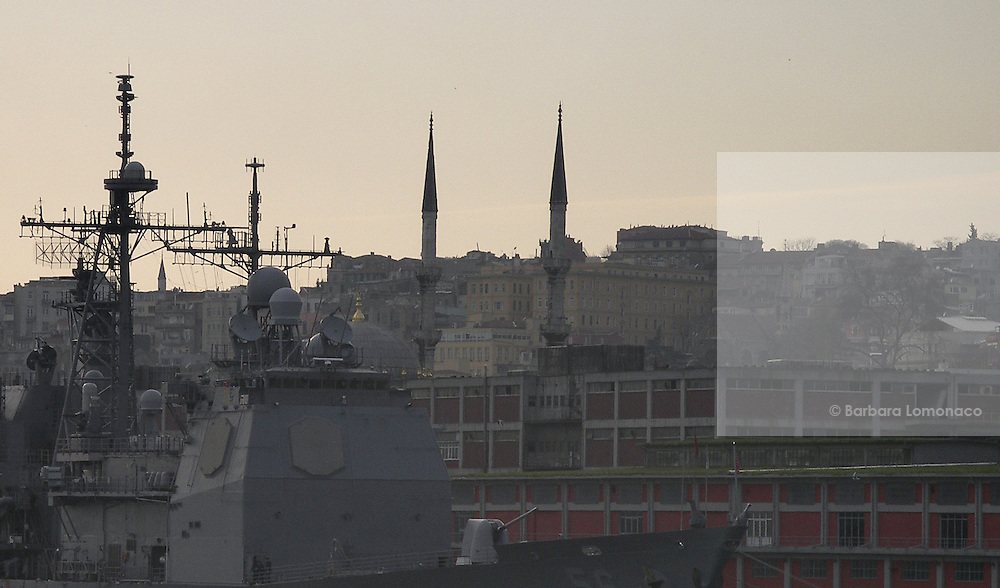 Istanbul. A warship riding at anchor on the Bosphorus.