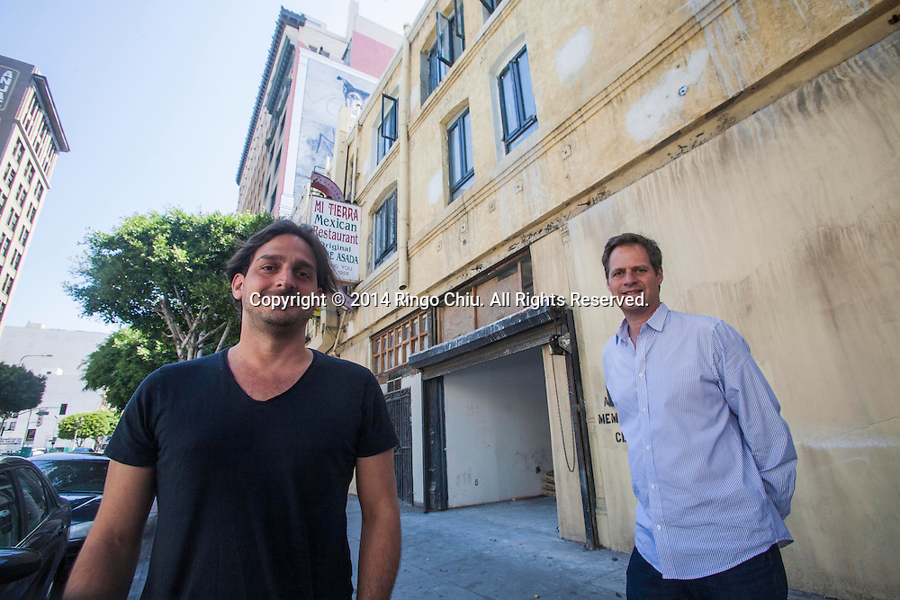 Chef Juan Pablo Torre, left, and David Green, parters of hospitality group Tuck Ventures that's turning an old downtown building into Dart Hotel & Restaurant in downtown Los Angeles. (Photo by Ringo Chiu/PHOTOFORMULA.com)