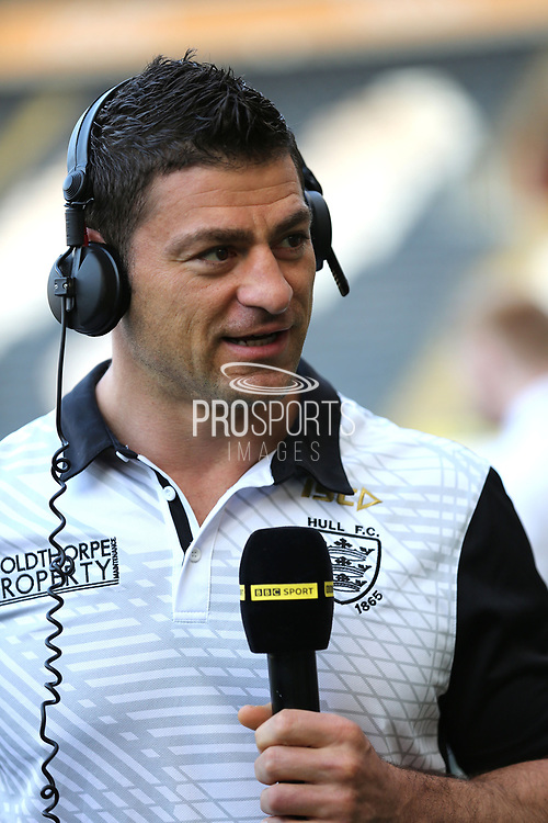 Hull FC second row forward Mark Minichiello (12) pre match  interview prior to the Betfred Super League match between Hull FC and Leeds Rhinos at Kingston Communications Stadium, Hull, United Kingdom on 19 April 2018. Picture by Mick Atkins.