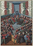 Trial of Jean II, Duke of Alencon (d1476) Vendome, 1458, accused of plotting with the English against France during the Hundred Years War. Friend of Joan of Arc. Chromolithograph after 15th century manuscript.
