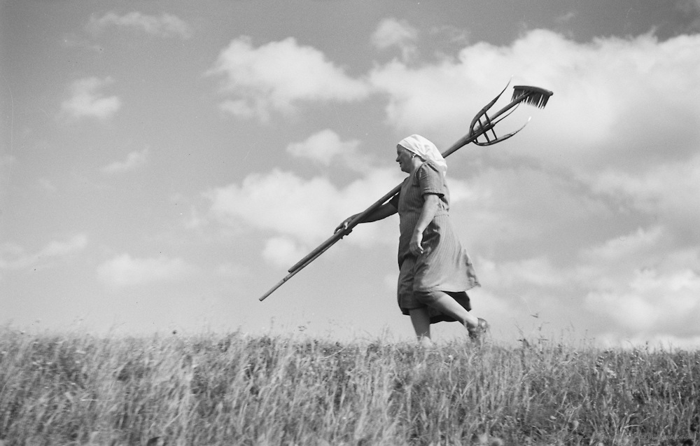 Farmhand with Rake, Molln, Austria, 1935