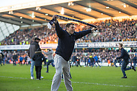Football - 2016 / 2017 FA Cup - Fifth Round: Millwall vs. Leicester City <br /> <br /> A Millwall fan celebrates at the final whistle in front of the Cold Blow Lane stands at The Den<br /> <br /> COLORSPORT/DANIEL BEARHAM